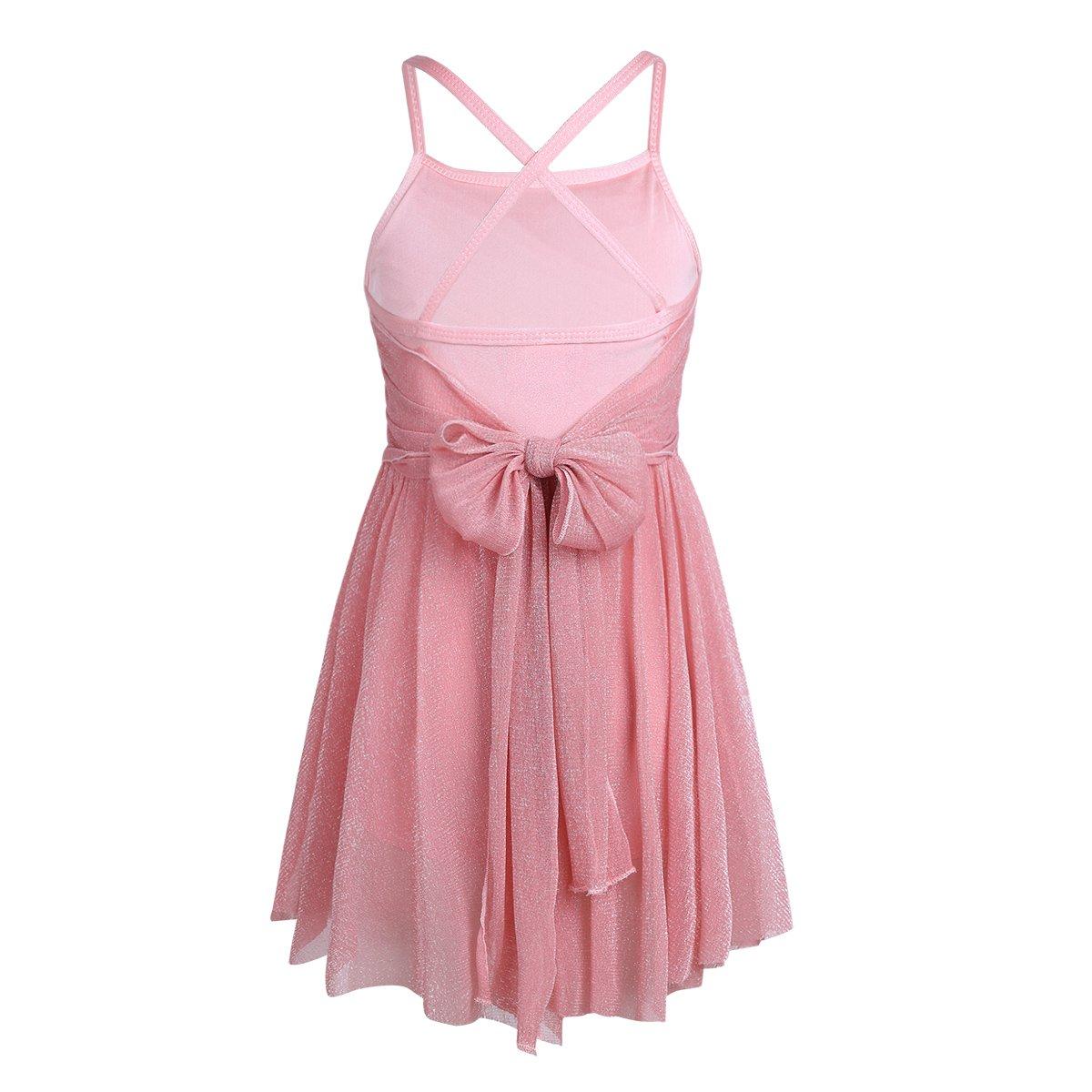 65294cd4bd5f Amazon.com: YiZYiF Girls' Glittery Mesh Overlay Lyrical Dance Dress Stage  Ballet Ballroom Dancing Costumes: Clothing