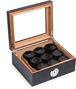 SNAK Espresso Wood Medicinal Herbs Humidor Humidistat & External Hygrometer with 9 Black Marble Canisters