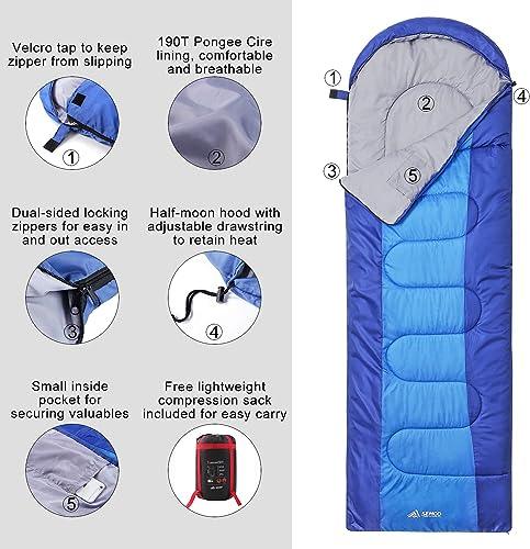 SEMOO Sleeping Bag Lightweight Water Resistant, Comfort 3-4 Seasons Envelope Compression Sleeping Bags with Hood for Adults Kids Camping Backpacking Hiking Traveling