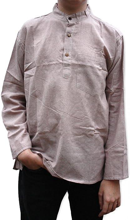 New 100/% Cotton Shirt Kurta Nehru Grandad Collar Casual Fairtrade From Nepal