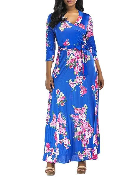 Vestidos Playa Mujer Verano Elegantes Vintage Estampado Flores Maxi Vestidos Largos Casual V Cuello Talle Alto