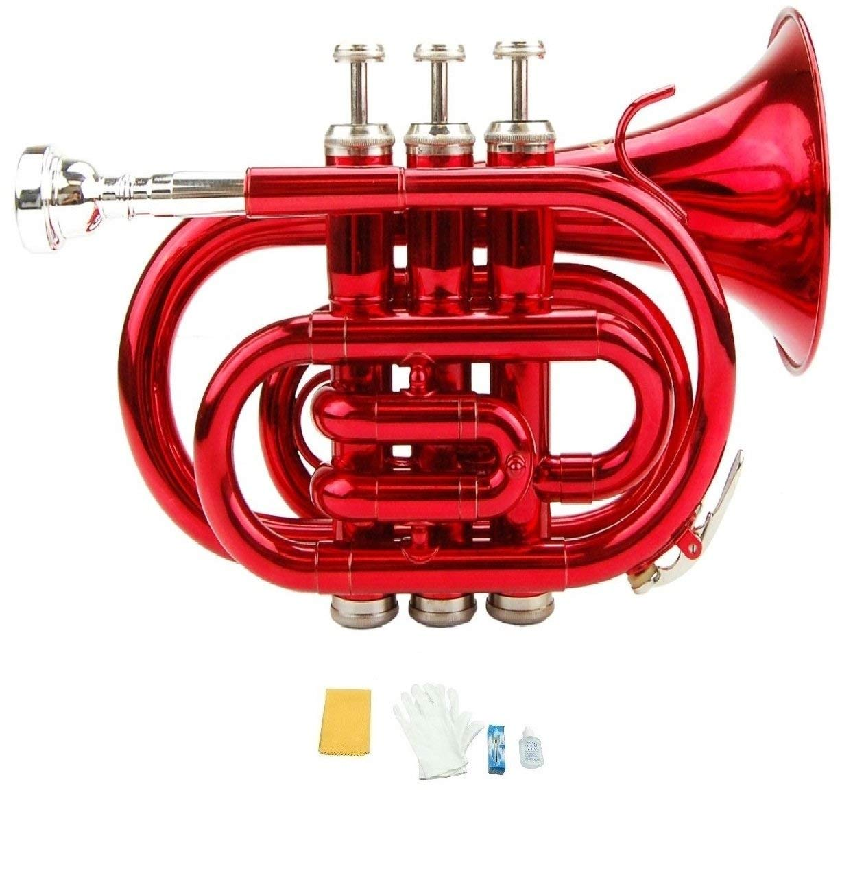 Merano B Flat Red Pocket Trumpet with Case+Mouth Piece;Valve oil;A Pair Of Gloves;Soft Cleaning Cloth by Merano
