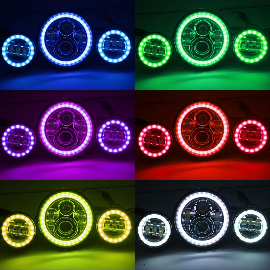 DOT H4 7 Multi-color Halo Headlight /& RGB Halo Passing Light For Harley Davidson Electra Street Glide Road King Ultra Classic Heritage Softail Slim Deluxe Fatboy Motorcycle Projector Headlamp Set