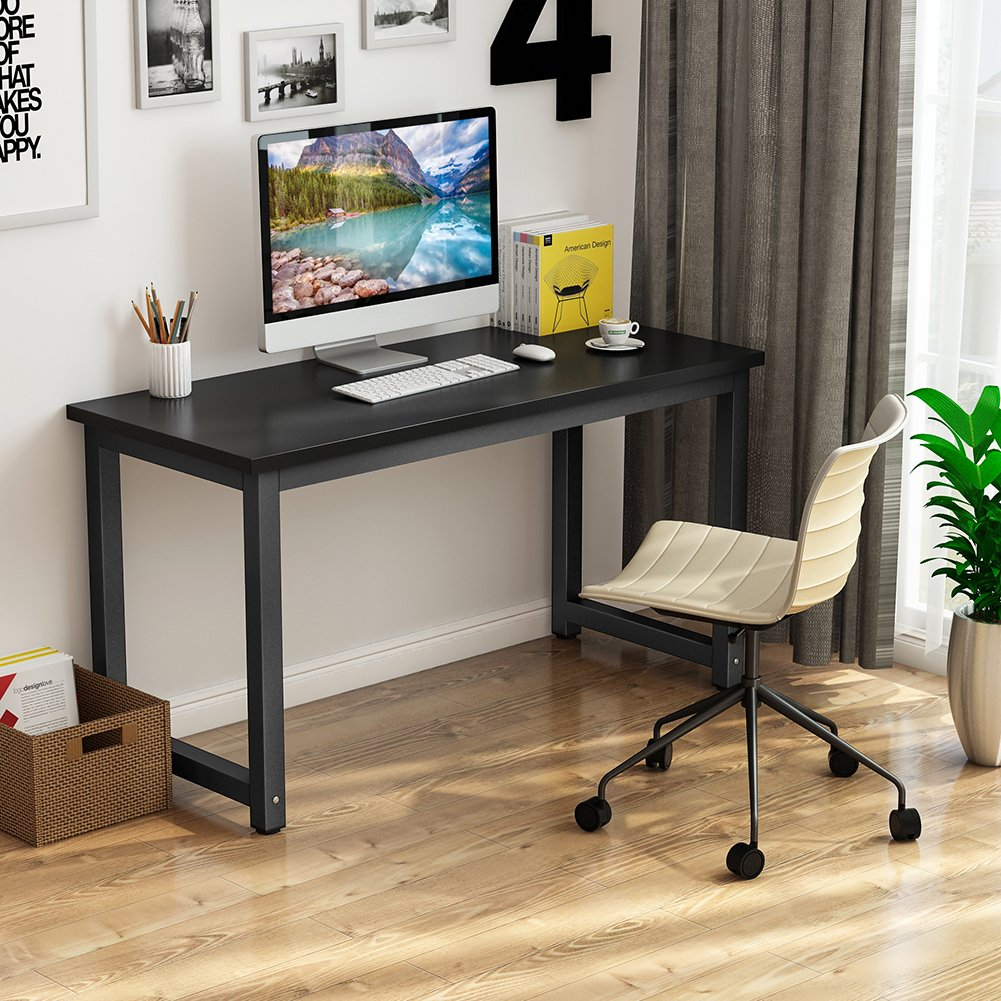 Tribesigns Computer Desk, 55 inch Large Office Desk Computer Table Study Writing Desk for Home Office, Black + Black Leg by Tribesigns (Image #3)