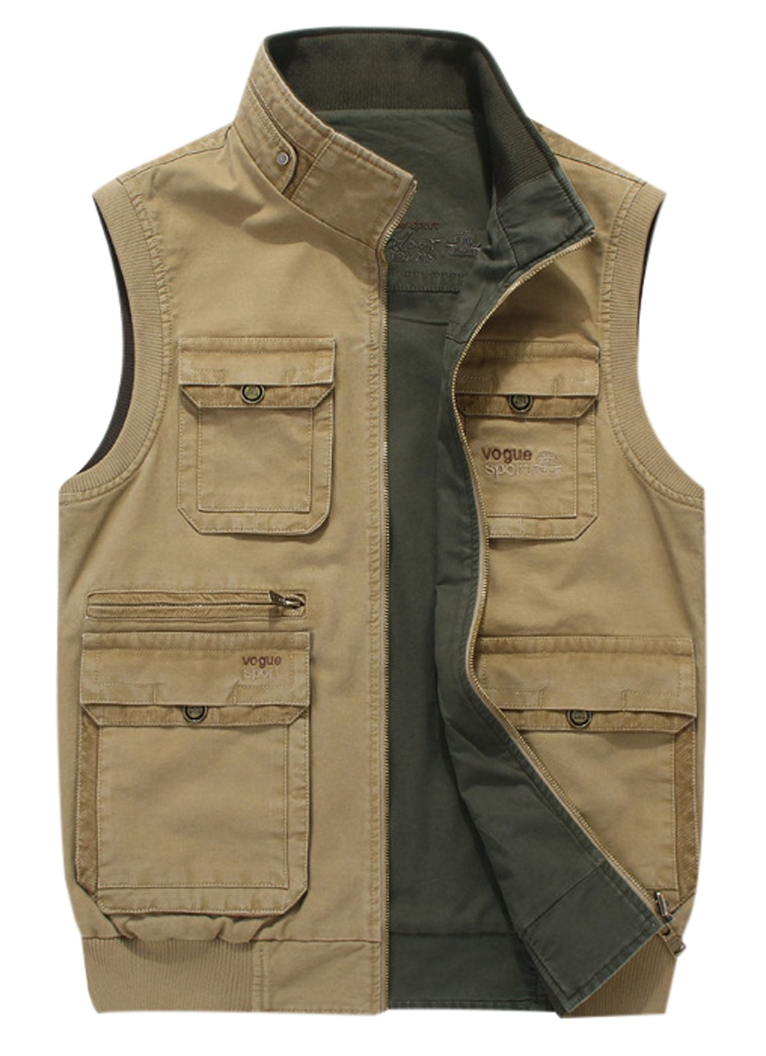 Gihuo Men's Reversible Cotton Leisure Outdoor Pockets Fish Photo Journalist Vest (L, Khaki) by Gihuo