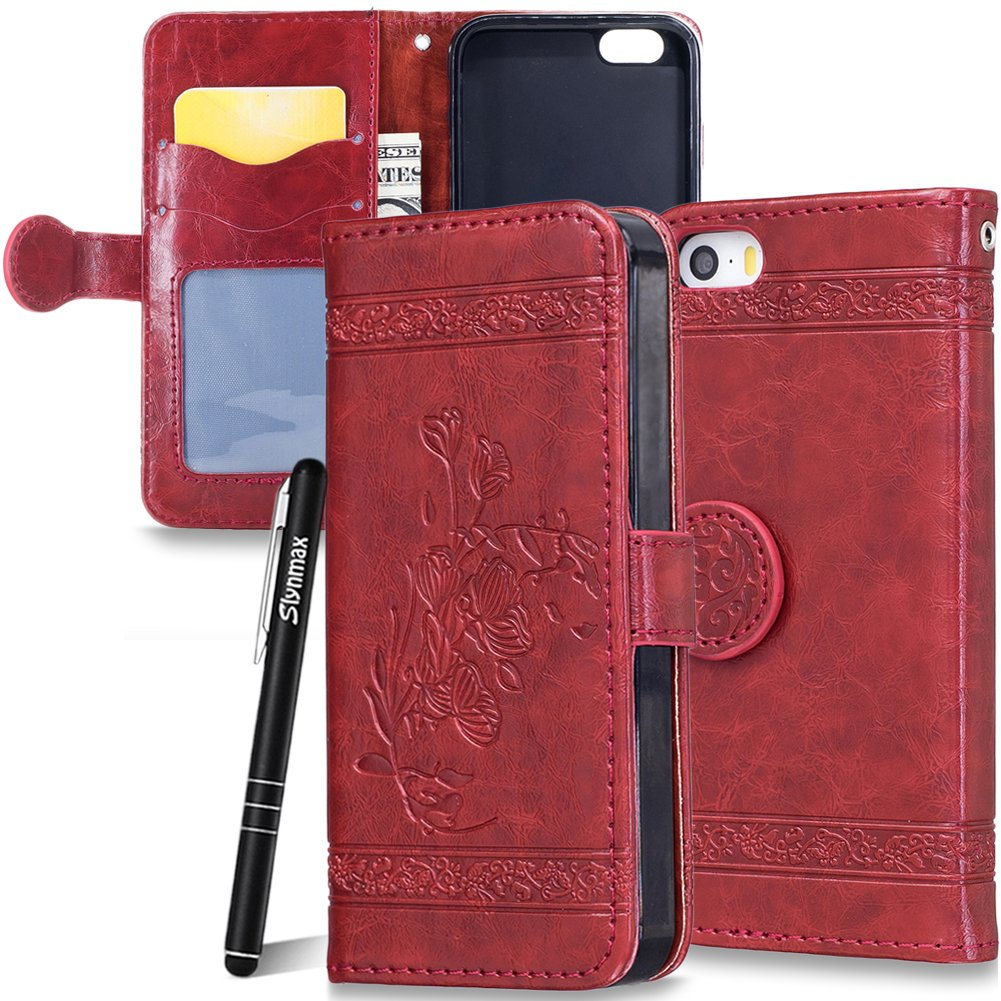 iPhone 5 Case, iPhone 5s Leather Case, iPhone SE Wallet Case, Slynmax Luxury Leather Folio Vintage Oil Wax Embossed Design Flip Case Soft Silicone Kickstand Full Coverage Protection Shockproof Case LYJ-YUANRT12769