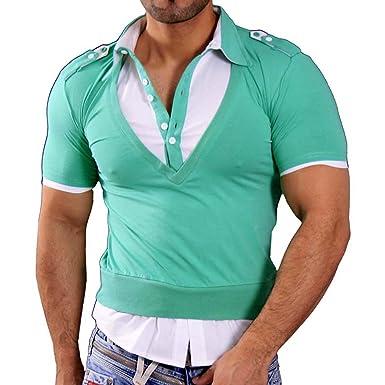 Rusty Neal Manga Corta – Camiseta de Polo Polo Camisa Style Verde ...