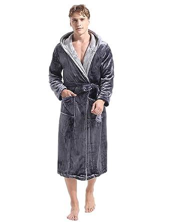 outlet online cheap prices best sneakers Aibrou Pyjama Homme Polaire Robe Peignoir Pas Cher personnalisé Robe  Chambre Homme Longue Hiver Gris EU40-42