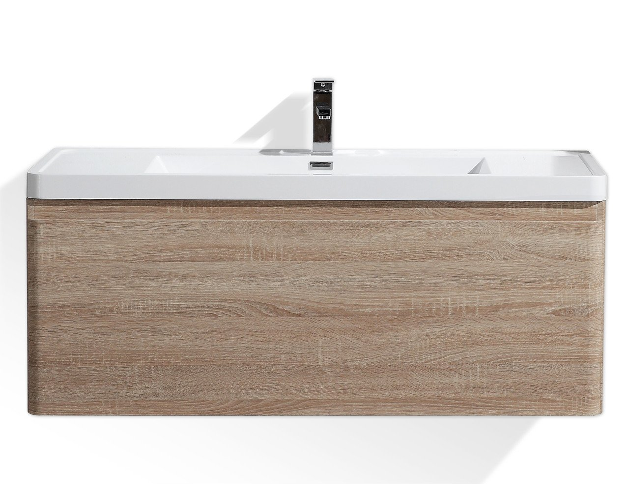 Lucky 48''Wall Mounted Modern Bathroom Vanity Sets with Acrylic Sink (White Oak) by Tona