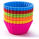 Other Set of 12 Pieces (1 dozen) Round Shaped Silicon Cake Baking Molds Jelly Mold Silicon Cupcake Pan Muffin Cup, , ,