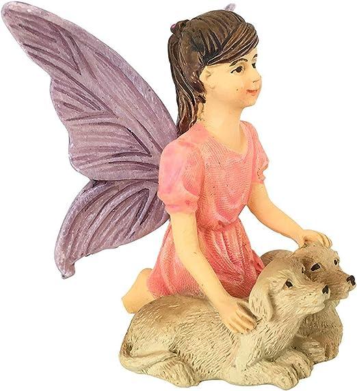 Sofie El Hada de Jardín con sus Cachorritos - Estatuilla de Hada para tu Jardín de Hadas de GlitZGlam: Amazon.es: Jardín