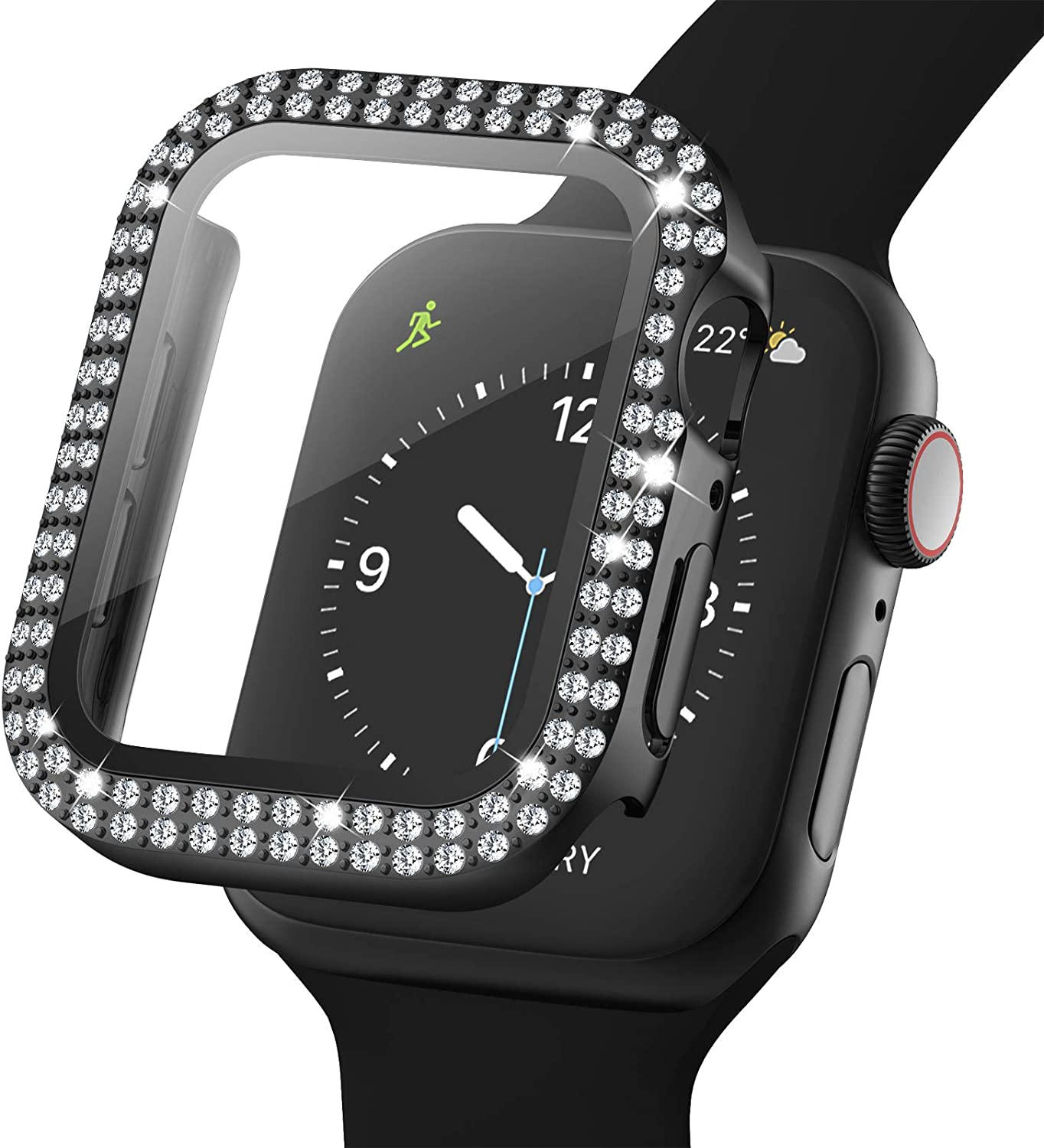 Adepoy Bling Case for Apple Watch 38mm Series 3/2/1 with Tempered Glass Screen Protector, Double Diamond Rhinestone All-Around Ultra-Thin Bumper Protective Cover for iWatch Women Girls(black)