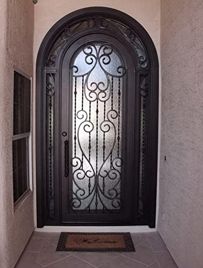56 X 108 Beautiful Custom Made Wrought Iron Entry Door With Glass