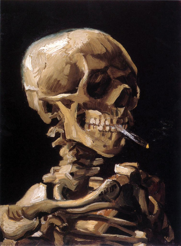 Artifact Puzzles - Van Gogh Smoking Skull Wooden Jigsaw Puzzle by Artifact Puzzles
