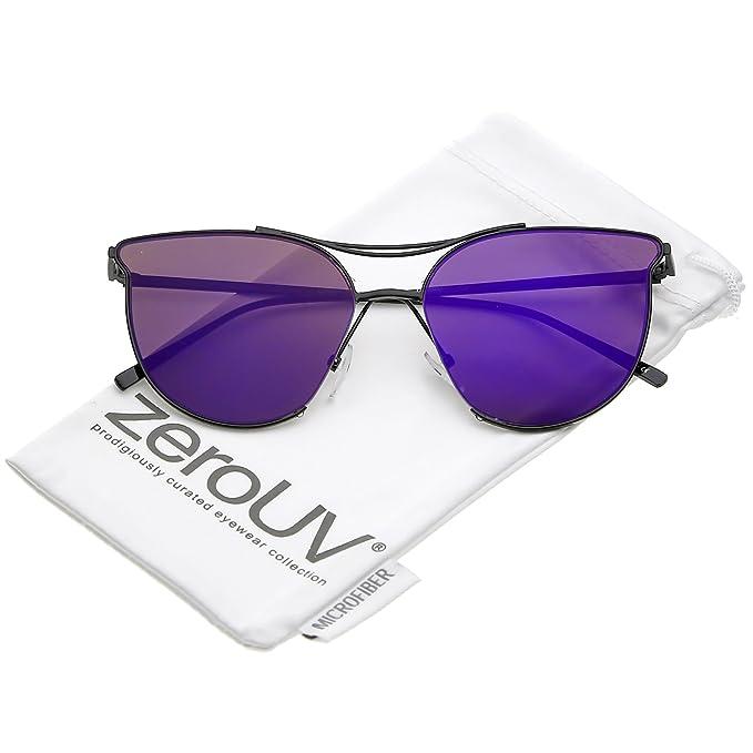 4639d3f2a8 zeroUV - Modern Double Nose Bridge Round Mirrored Flat Lens Cat Eye  Sunglasses 55mm (Black