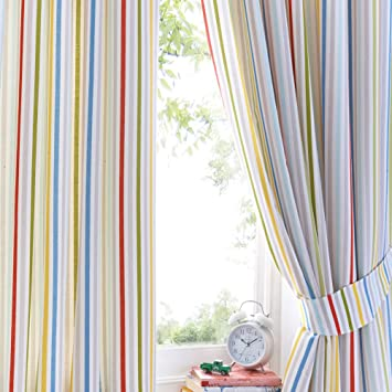 Striped Blue Boys Kids Childrens 66x72 Ready Made Lined Curtains