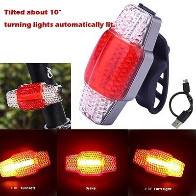 COB LED intelligent Blinker Frein lampe de vélo Vélo rechargeable USB arrière