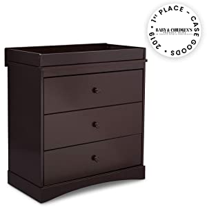 Delta Children Sutton 3 Drawer Dresser with Changing Top, Dark Chocolate