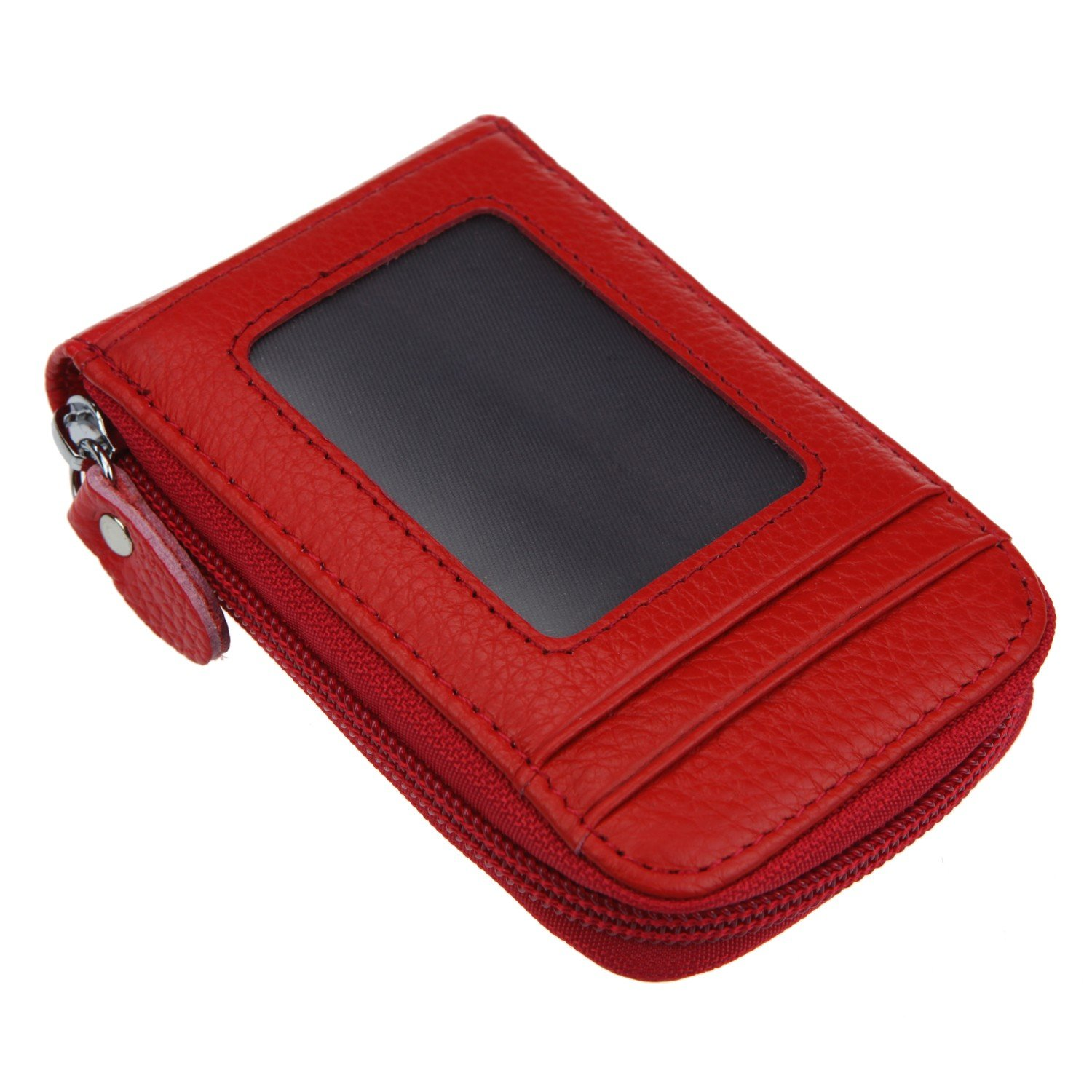 RFID Leather Mini Credit Card Case Organizer Compact Wallet with ID Window (Pruple) CC15083D