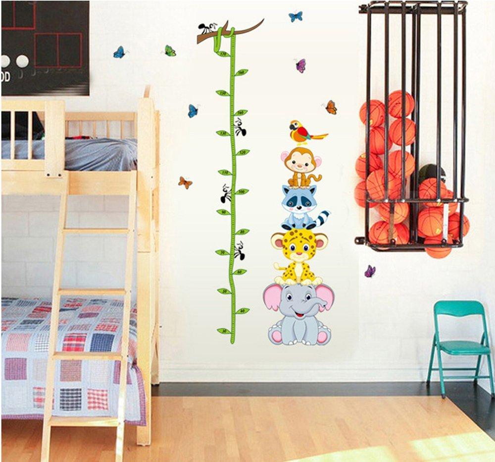 ufengke/® Partie Animale /Él/éphant Mignon Renard Singe Toise Stickers Muraux La Chambre Des Enfants P/épini/ère Autocollants Amovibles