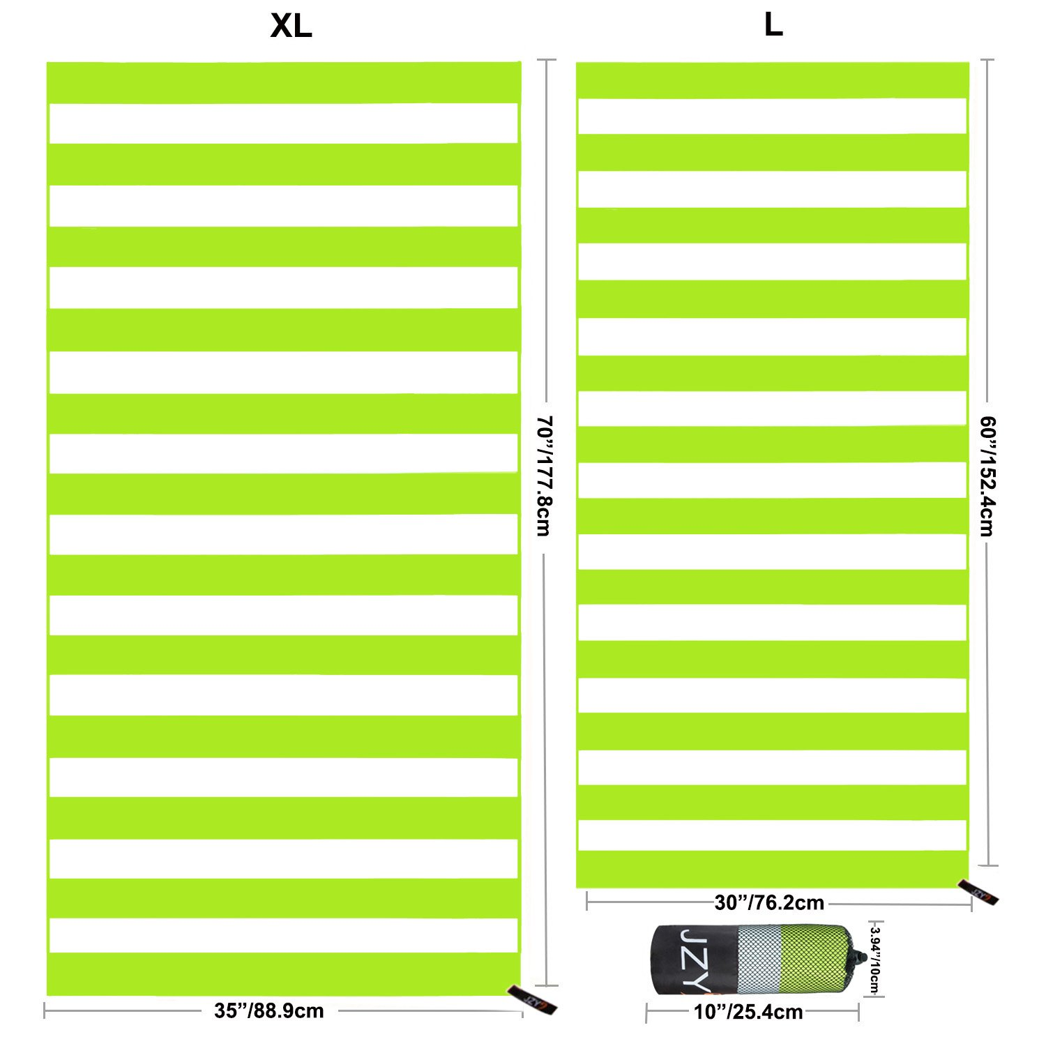 JZY Beach Towel, Microfiber Towel for Swim, Pool, Camping, Outdoors, Sand Free Towel-Lightweight, Quick Dry(Extra Large 70×35, Large 60×30) (Green, Large)