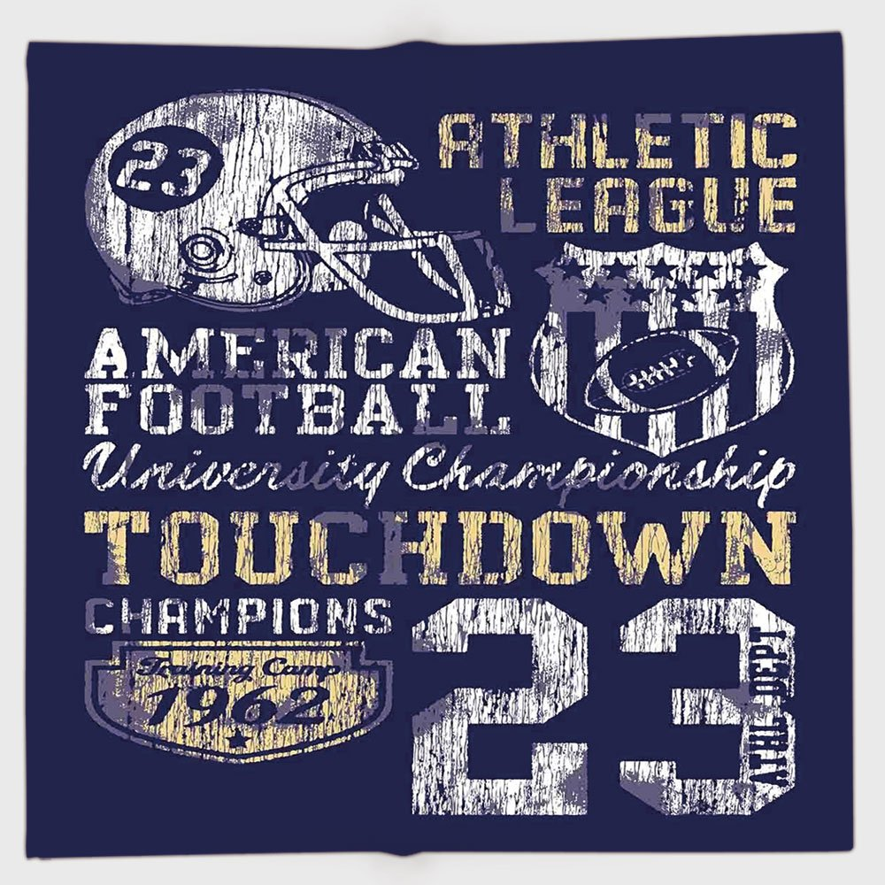 Cotton Microfiber Hand Towel,Sports,Retro American Football College Illustration Athletic Championship Apparel Decorative,Purple White Yellow,for Kids, Teens, and Adults,One Side Printing