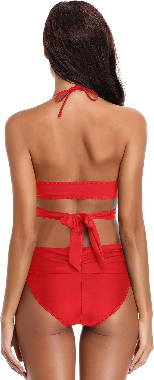 SHEKINI Bikini Rembourr/é Maillot de Bain Push Up Halter Maillot 2 pi/èces Femme Bandage R/églable avec Triangle Pliss/é Ruched Mid Waisted Bas de Bikini Maillots de Bain Plage