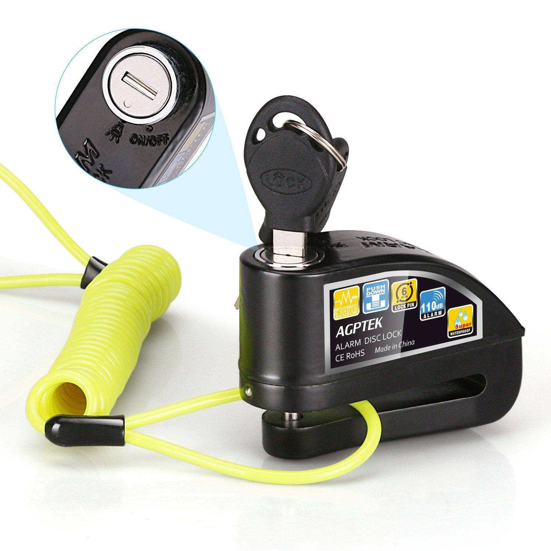 AGPTEK Candado de Disco con Alarma Antirrobo Acero mm DB con Cable