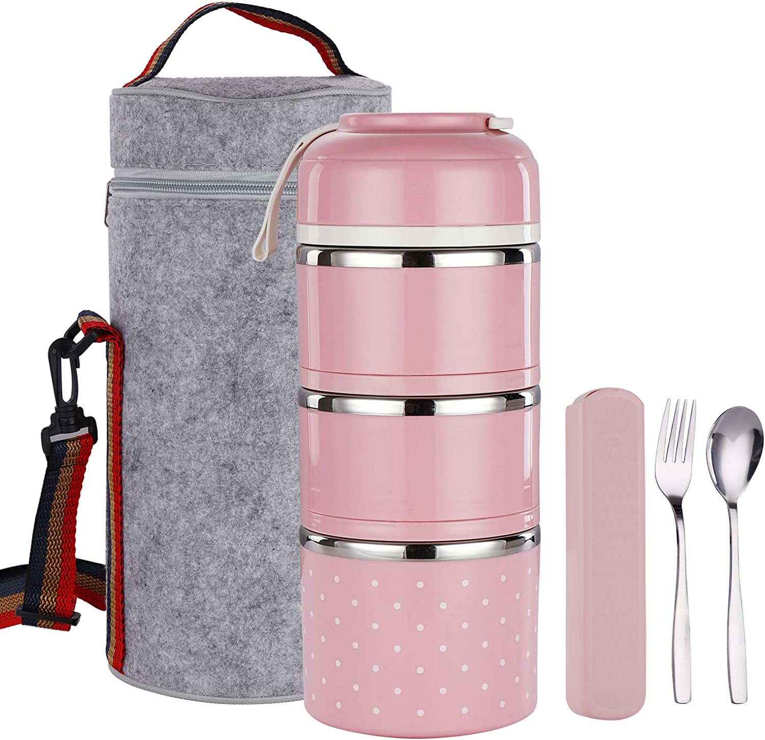 TiLeMiun 3 Layer Stackable Bento Lunch Box, Insulated Stainless Steel Compartment Lunch Container with Lunch Bag and Cutlerly BPA-Free (Pink)
