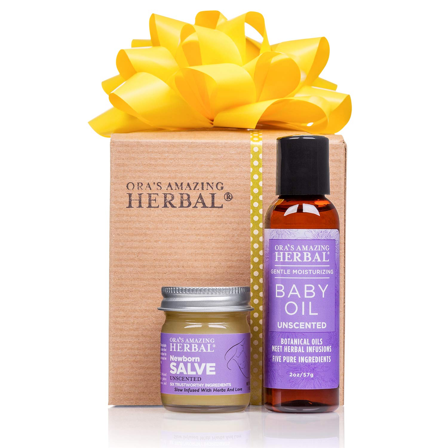 New Baby Gift, Natural Skincare for Newborn Baby, Baby Oil and Salve, Organic Calendula and Licorice Root Infused, Natural Baby Oil and Newborn Salve Paraben Free Diaper Cream