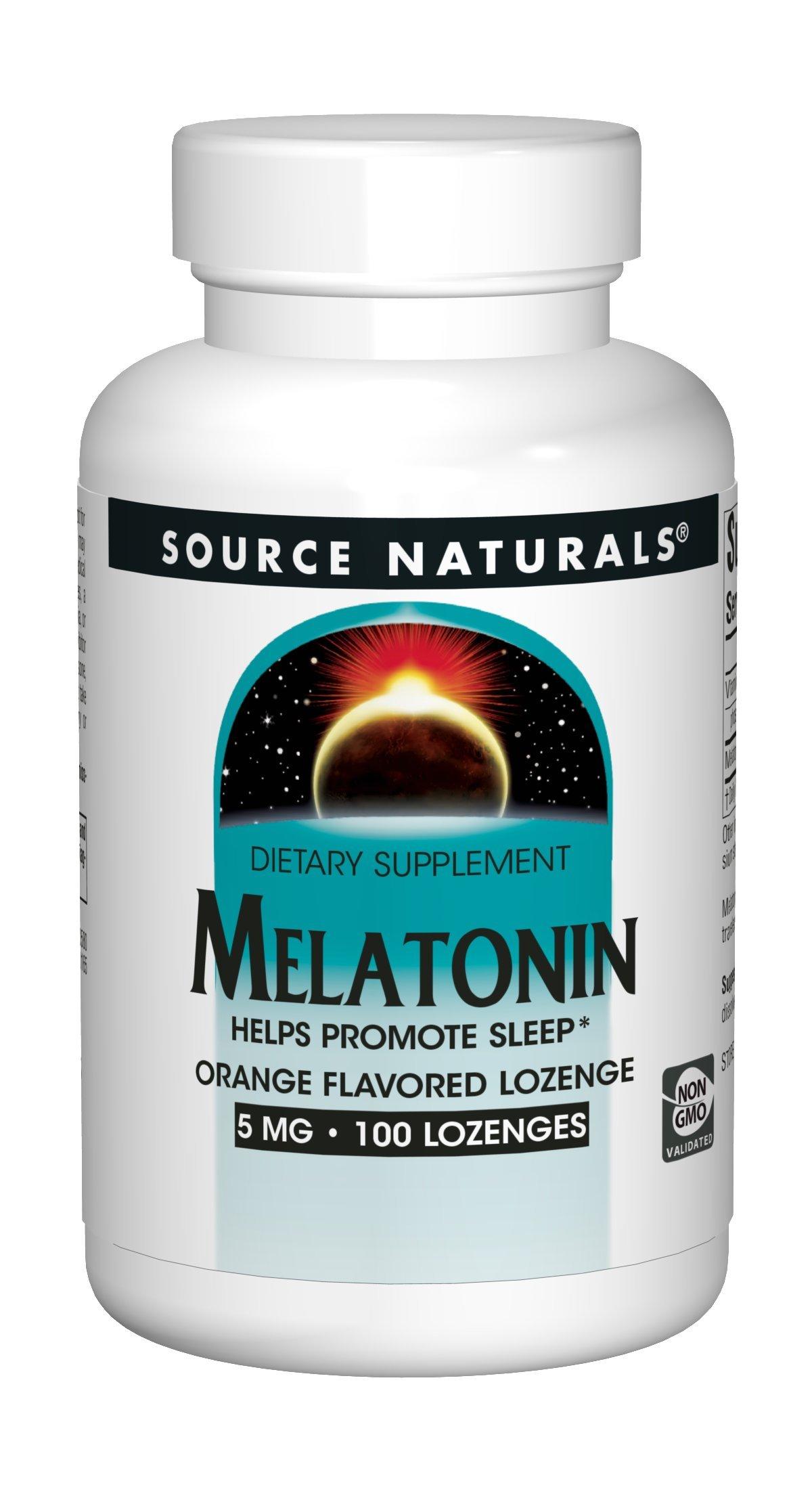 Source Naturals Sleep Science Melatonin Liquid Sleep Support - Orange Flavor - Fast-Acting - 100 Lozenges