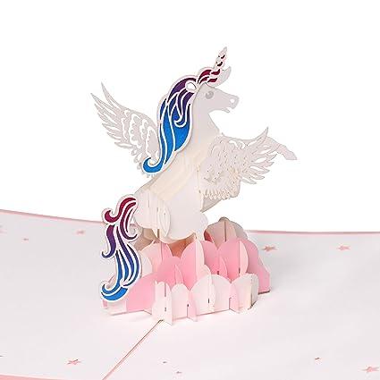 Tarjetas de felicitación con diseño de unicornio 3D, tarjeta de cumpleaños, tarjeta de aniversario, tarjeta de graduación, tarjeta de boda, tarjeta de ...