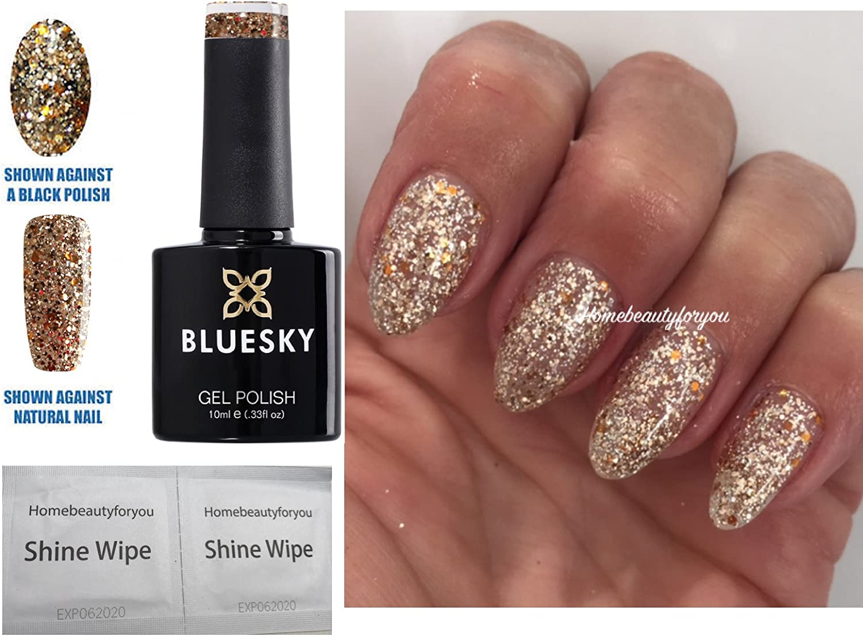 Bluesky Gel Polish Gold And Silver Glitter Mix Sparkle Nail Sp13 Uv Led Soak Off 10ml Special Price Amazon Co Uk Beauty