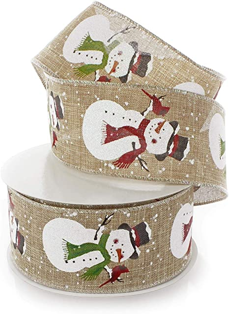 Natural Reliant Ribbon Cardinal Snow Linen Wired Edge Ribbon 2-1//2 Inch X 10 Yards