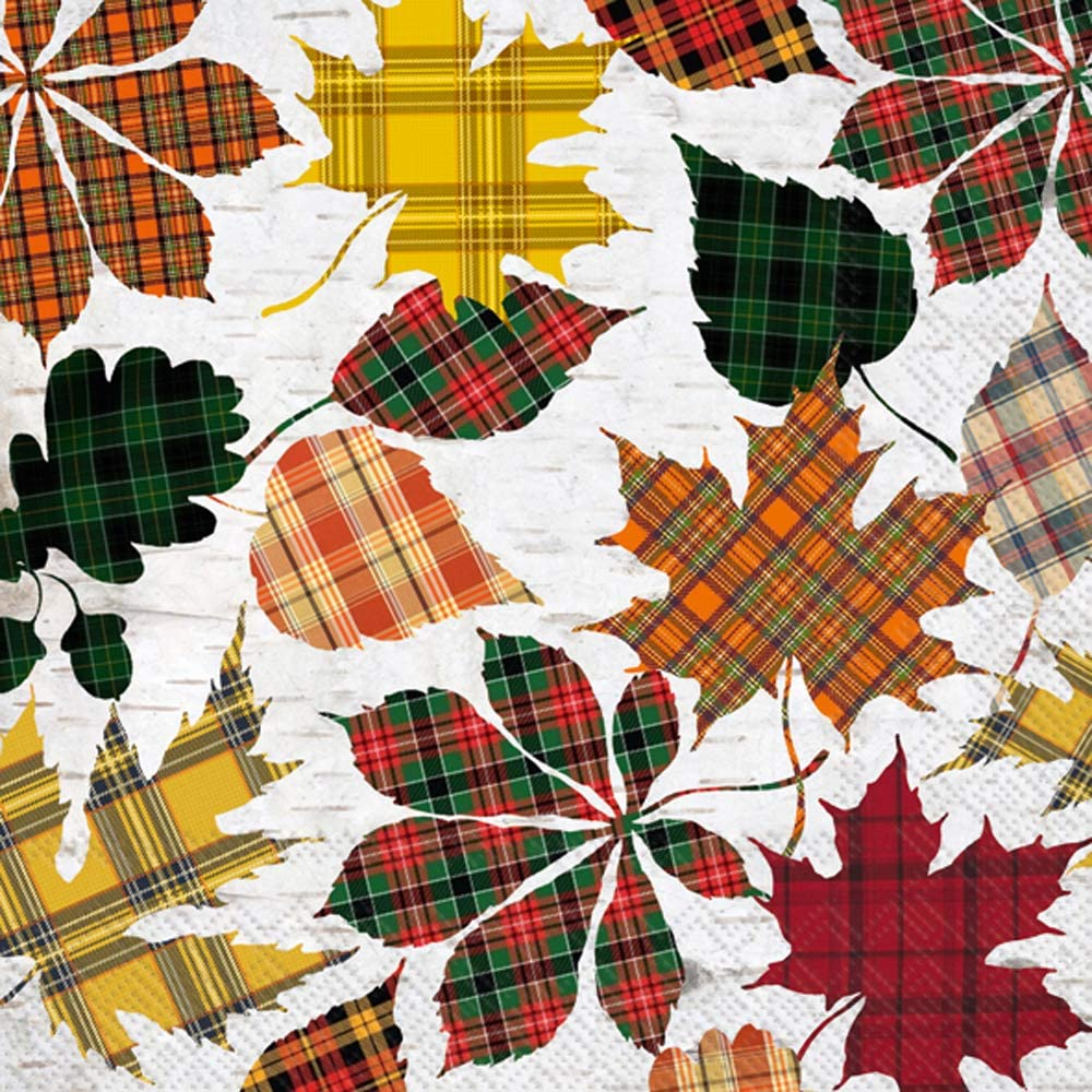 Cocktail Napkins Paper Napkins Fall Decor Decorative Funny Beverage Napkins, Disposable Plaid Leaves 5