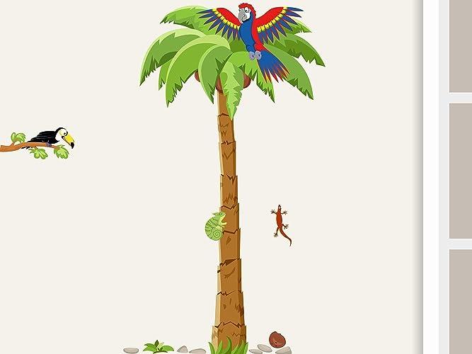 Wandtattoo Palme Mit Papagei Wandaufkleber Fur Kinderzimmer Kinder