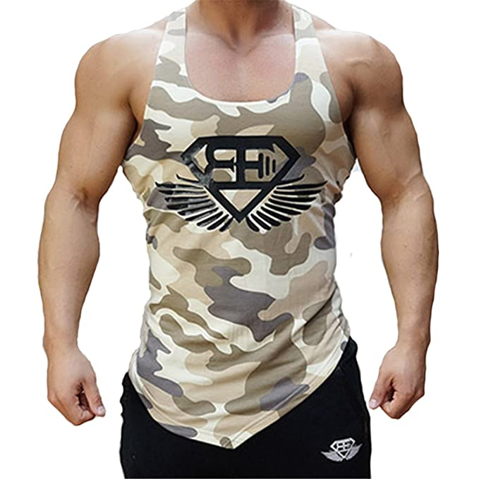 04da26a5 Image Unavailable. Image not available for. Color: Fitness Men Tank Top  Army Camo Camouflage Mens Bodybuilding Stringers Tank Tops Singlet Brand  Clothing ...
