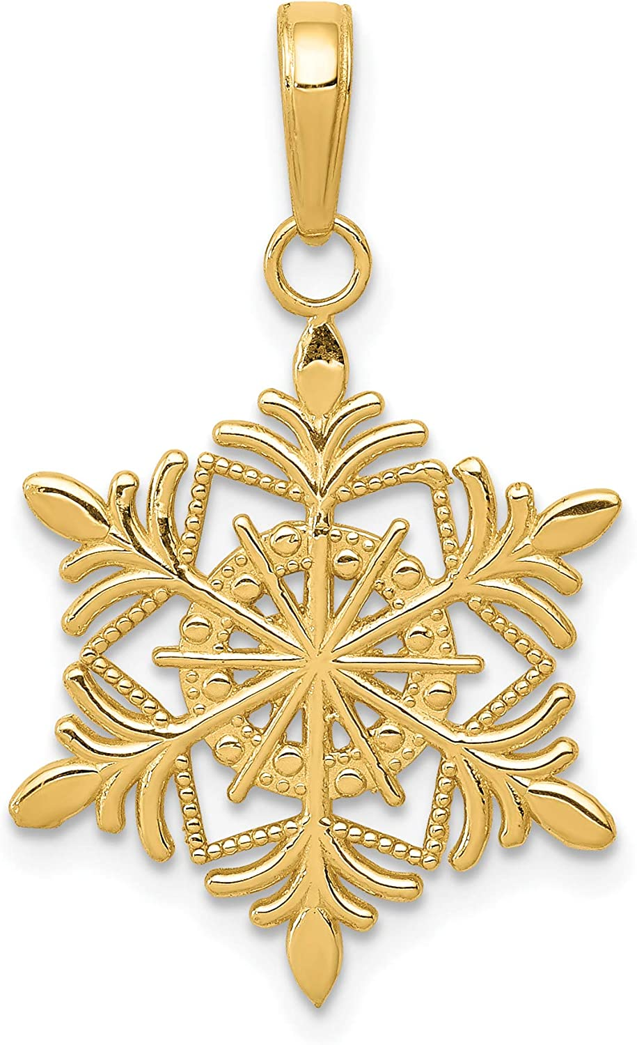 Silver Yellow Plated Snow Flake Charm 25mm