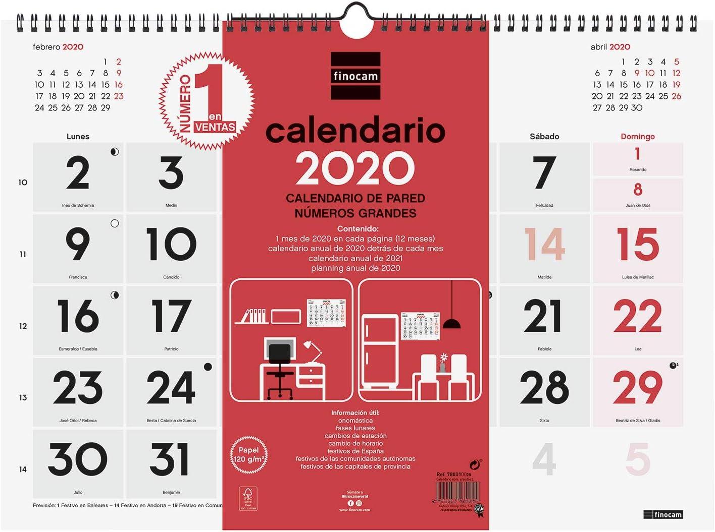 Finocam - Calendario de pared 2020 Números Grandes español