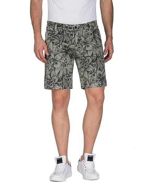 M9610.000.70529, Pantalones Cortos para Hombre, Verde (Lt Green and Blk Flower 10), (Talla del Fabricante: 29) Replay