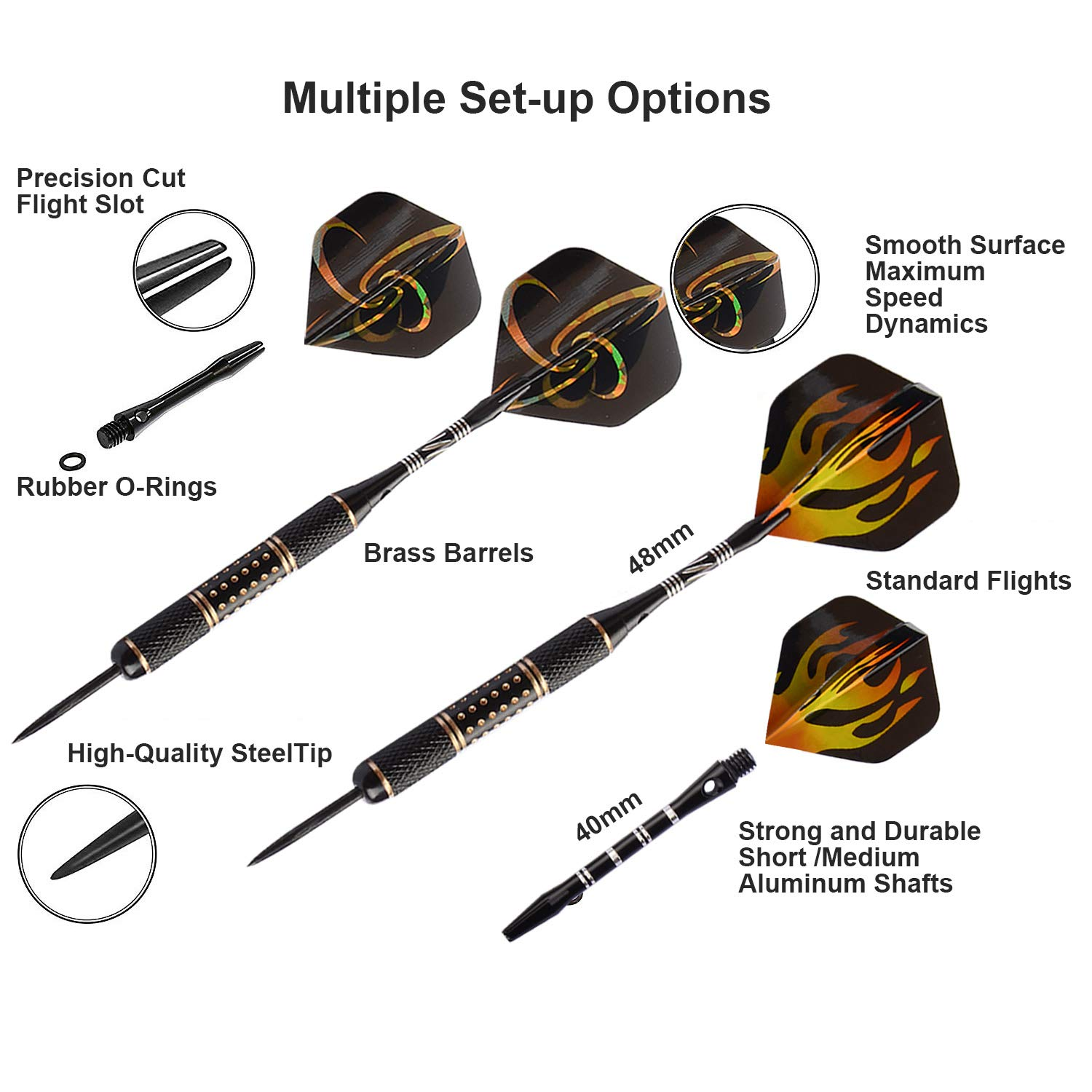 Migargle Professional Steel Tip Darts Set + 12 Dart Shafts Aluminum 2 Sizes + 6 Brass Barrels 26 Grams + 12 Flights + 4 Style Flights + Darts Sharpener +Darts Tool and Case