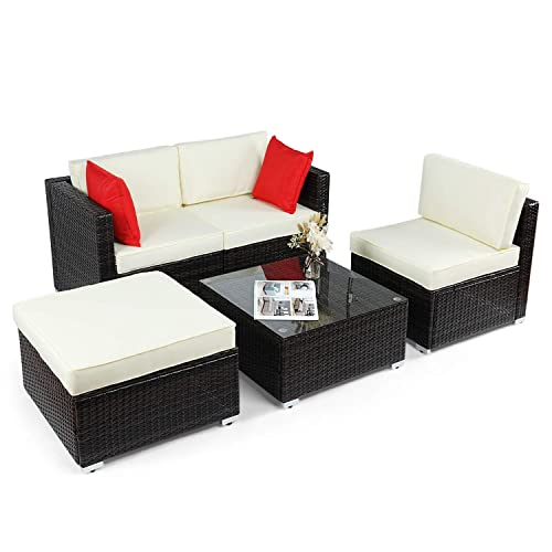BAHOM Outdoor Patio Conversation Sofa Set 5 PC, All-Weather Wicker Chair and Ottoman Set for Patio, Backyard, Poolside and Balcony