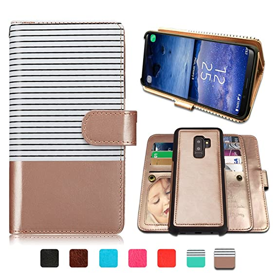 separation shoes 4d0ae e3329 Galaxy S9 Plus Cases, Magnetic Detachable Lanyard Wallet Case with 9 Card  Slots Holder, CASEOWL 2 in 1 Premium Leather Removable TPU Case Flip Wallet  ...