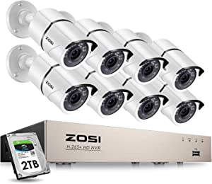 ZOSI 8CH 5MP PoE Home Security Cameras System with 2TB Hard Drive,H.265+ 5MP 8-Channel NVR Security System and 8pcs Wired 5MP Outdoor Weatherproof 120ft Night Vision PoE IP Cameras for 24/7 Recording