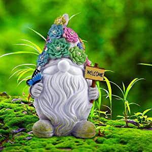 EXQUAILTY Led Light Gnome,Garden Gnome Statues Decor Lights, Solar Powered Outdoor Lights Art Gifts with 10 Warm White LED