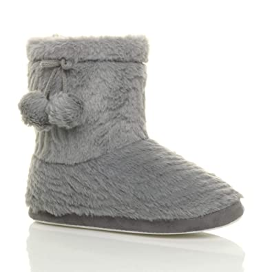 Ladies Girls Faux Suede Warm Fur Lined Winter Snugg Ankle Boots Pull On Slippers