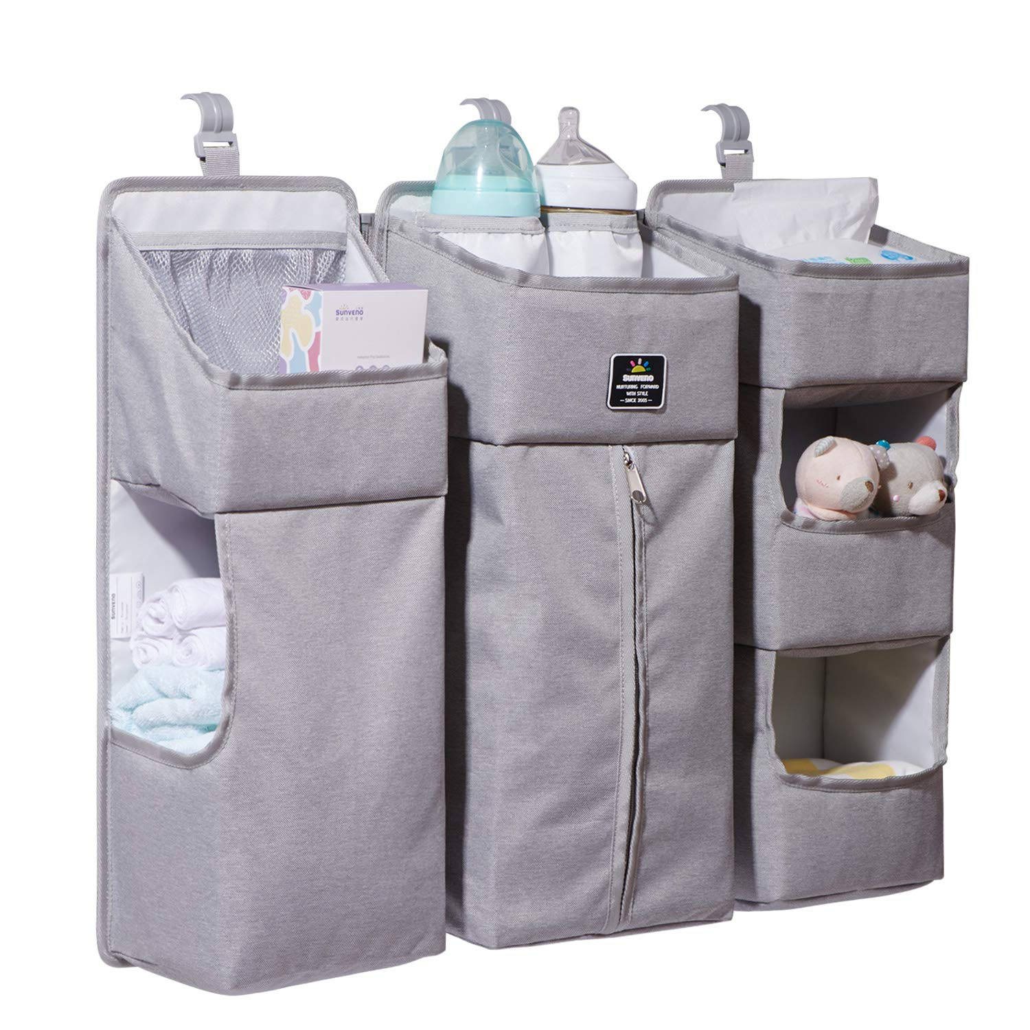 Crib Storage Hanging Bag Washable Baby Nursery Organizer Bedside Caddy Portable Linen Double Bag Baby Bed Hanging Organizer