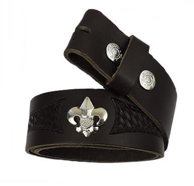 664e1596e49a57 Gürtel Wechselgürtel Ledergürtel Echt Leder schwarz o. braun punziert Fleur  de Lys Bourbon Lilie (