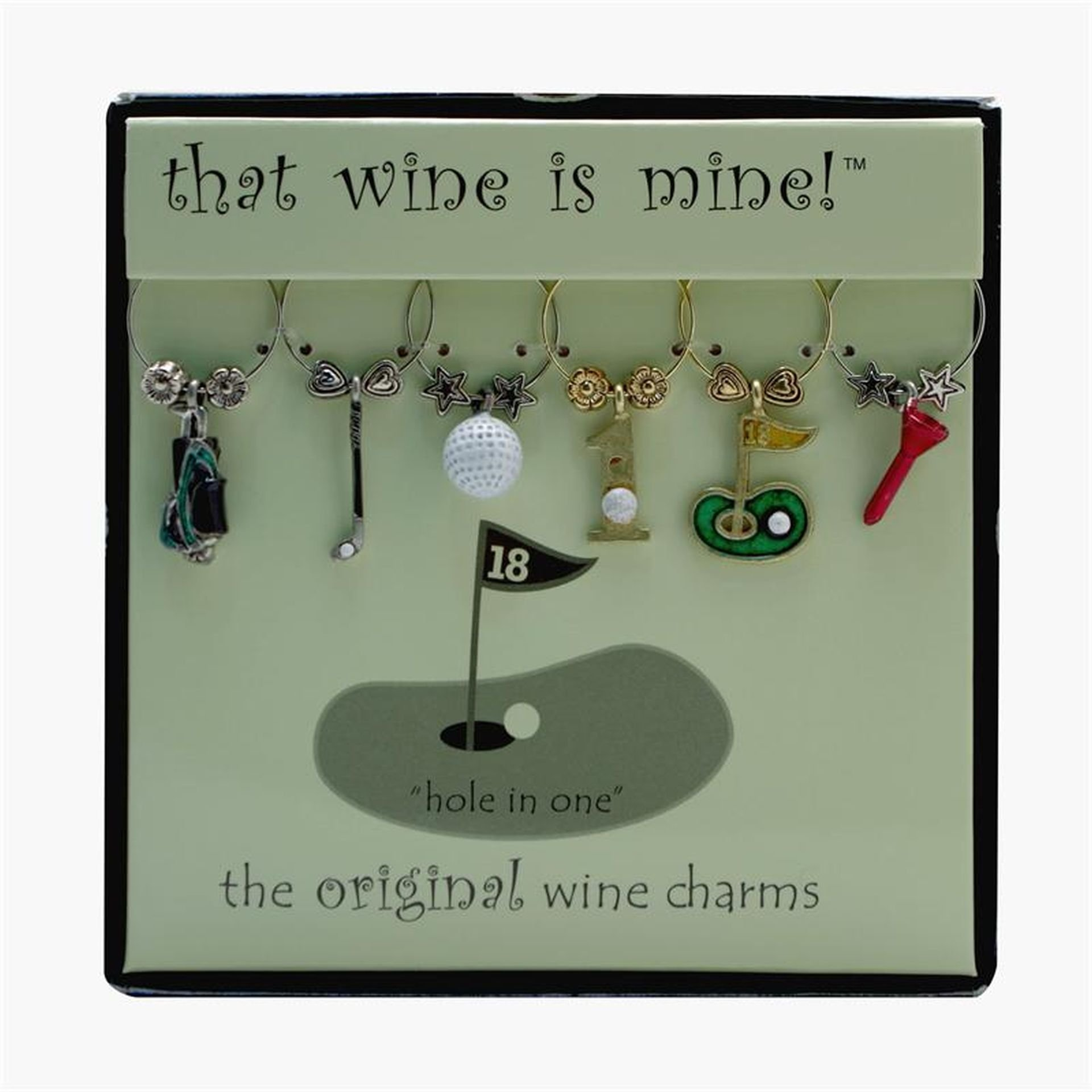 Wine Things 6-Piece Hole In One Wine Charms, Painted