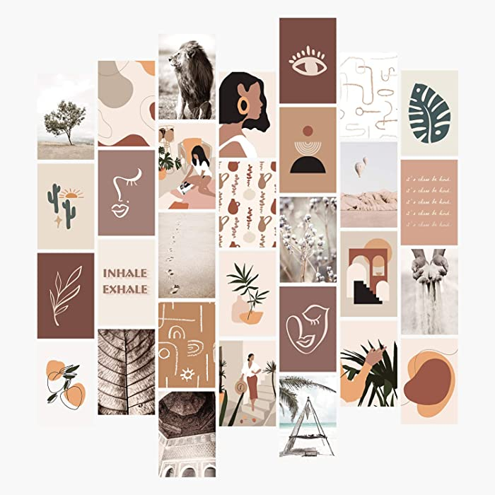 YUMKNOW Aesthetic Wall Collage Kit - 4x6 inch Set of 30, Teen Girl Room Decor for Bedroom Dorm, Boho Mid Century Modern Decor Wall Art Photo Picture Posters, Mininalist Gift for Teenage Girls Her